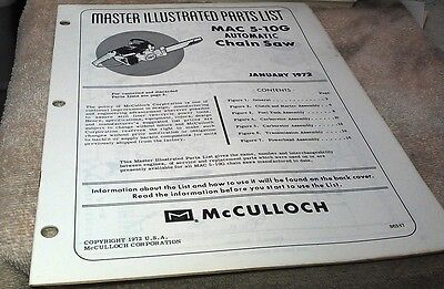 1972  McCULLOCH MAC 5-10G Automatic  Chain Saw  Parts Book