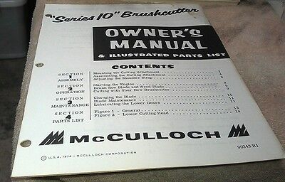 1974  McCULLOCH Series 10 Brushcutter Owners Manual
