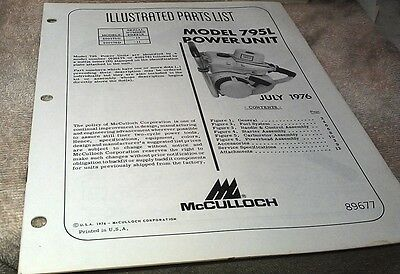 1976  McCULLOCH Model 795L  Power Unit  Chain Saw  Parts Book