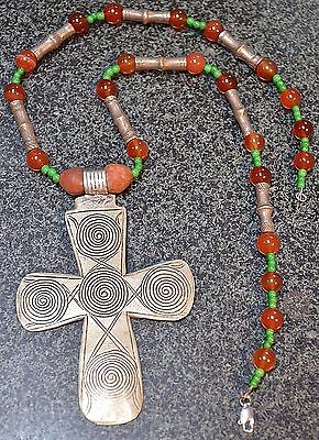 Antique Ethiopian Christian Cross Necklace Carnelian Tuareg Ethnic Silver Beads