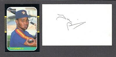 Ty Gainey (Debut 1985) HOU Astros SIGNED AUTOGRAPH AUTO 3x5 INDEX COA