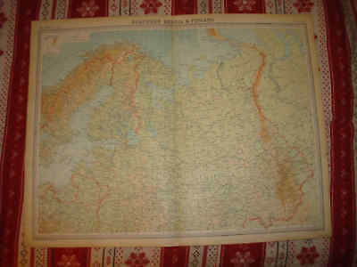 Huge Superb Antique Northern Finland Russia 1922 The Times Atlas Map Arctic Nr