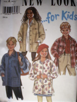 UNCUT Vintage New Look Kids Girls Boys Pattern 6 - 11 Jacket 6401 OOP FF SEWING