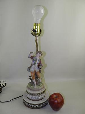 Antique Bisque Figural Hand Painted Lamp  Andrea By Sadet Japan