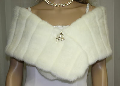 Ivory Minky Girl Child Faux Fur Wrap Stole New !
