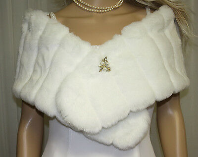White Minky Girl Child Faux Fur Wrap Stole New !