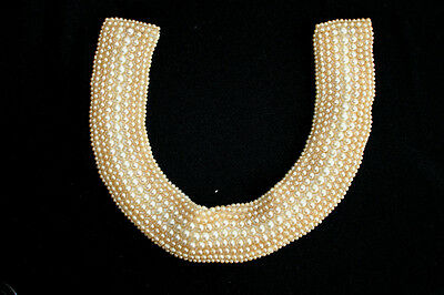 """Vintage 1950'S Hand Made In Japan Faux Pearl Beaded Collar 15' By 2"""""""
