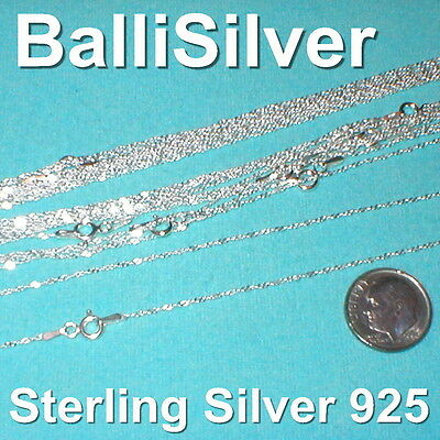 "50 pcs Sterling Silver 925 Fine Twisted SINGAPORE Chain Necklaces 25x16"" 25x18"""