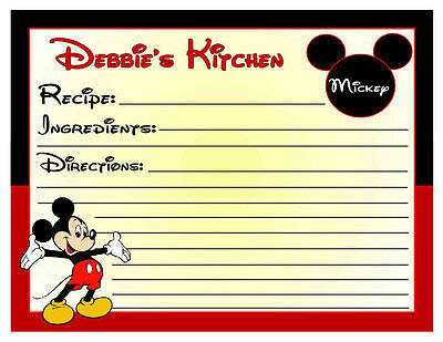 20 Personalized Mickey Mouse Kitchen Recipe Cards