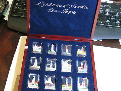 Lighthouses Of America-Complete Set 0F 12 -.999 Enamel Silver Bars-12 Troy Ounce