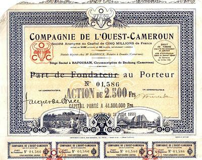 Africa Cameroon 1950 bond West cameroon Company 2500 f Deco coupons uncancelled