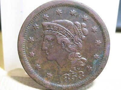 1853 Braided Hair Large Cent About Ef Condition