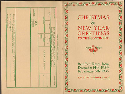 Christmas & N.y Greetings P.o Telegraph Services 1934/5