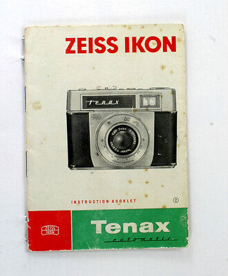 Zeiss Ikon Original Instruction Manual for Tenax Automatic - 20 pages