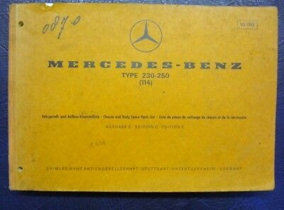 MERCEDES BENZ TYPE-230-250 ILLUSTRATED SPARE PARTS GUIDE EDITION C- ref: 10218