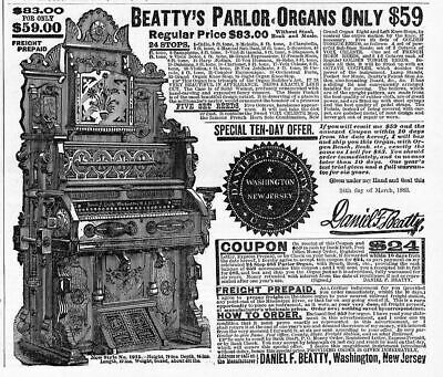 Beatty Parlor Organ Advertisement, Antique Organ Musical, Washington, New Jersey