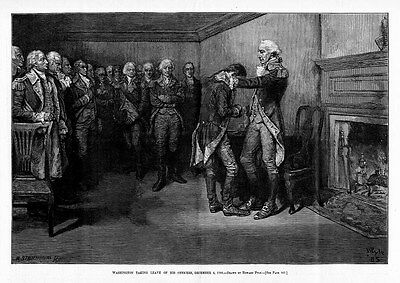 George Washington Taking Leave Of His Officers By Howard Pyle 1883 Engraving