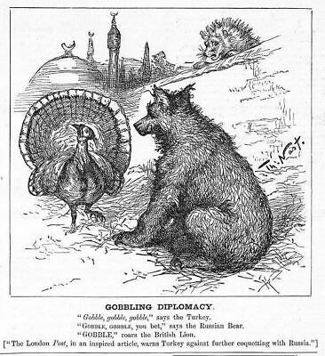Turkey Russian Bear British Lion Gobbling Diplomacy By Thomas Nast Political
