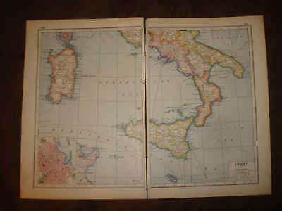 Huge Superb 1920 Antique Southern South Italy Map Malta Sicily Palermo Fine Nr