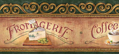 "ANTIQUE COFFEE SHOP BAKERY 5""inch COUNTRY Wallpaper bordeR Wall"