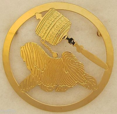 Tibetan Terrier Jewelry Locking Back Gold Pin by Touchstone