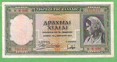 Greece 1000 Drachmai P110 Au 1939 Woman In Trad Dress, Athena, Parthenon