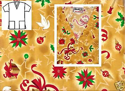 NEW Scrubs ~ Christmas Print Scrub Top ~  XS  ~ Holiday Delight Gold ~ # 506