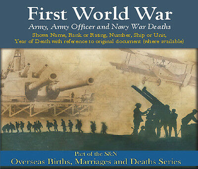 First World War Deaths - Army, Army Officer and Navy War Deaths (WWI/WW1)