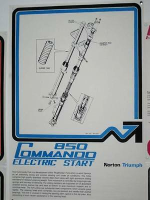 Norton laminated poster Electric Start 850 fork assembly Roadholder