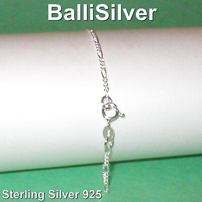 12 pcs Sterling Silver 925 Diamond Cut 2mm FIGARO Chain BRACELETS Wholesale Lot