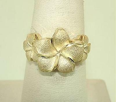 13mm-9mm Graduated Hawaiian 14k Yellow Gold Sparkly DC Plumeria Flowers Ring