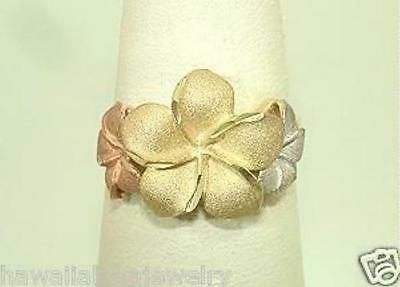 13mm-9mm Graduated Hawaiian 14k Tri-Color Gold Sparkly DC Plumeria Flower Ring