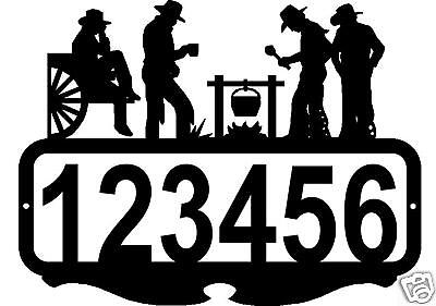 Custom Address Sign Personalized Name Cowboys Rustic Western Metal Art Decor