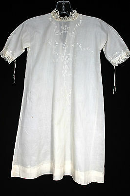 Rare Victorian-Edwardian Off White Hand Embroidered Cotton Christening Gown