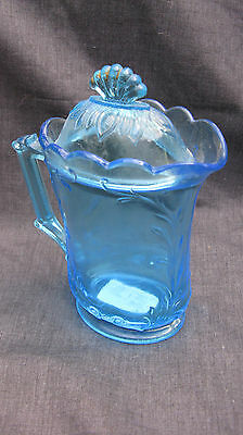 1915 EAPG Pattern Glass Westmoreland Belgian Blue Scrolled Spray Covered Creamer
