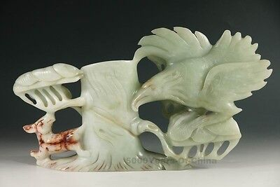 """12.38"""" Exquisite Chinese Old Hand Made Eagle & Tree Jade Statue"""