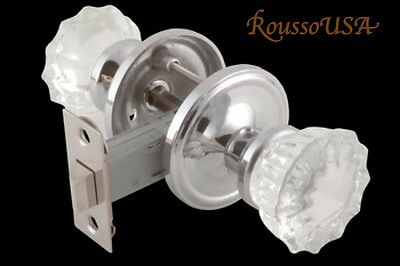 Fluted Crystal Glass & Brushed Nickel Residential  PASSAGE Door Knob Set-Special