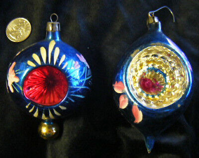 2 mercury ornaments handpainted central indent decorate