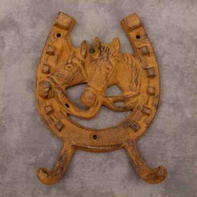 WESTERN HORSES ON HORSESHOE Cast Iron DOUBLE WALL HOOK ~RUSTIC ANTIQUED BROWN~