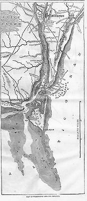 Civil War Map Of Wilmington And It's Defenses, Cape Fear, Fort Fisher, Troops