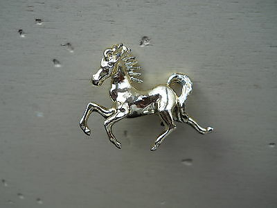 Shiny Goldtone Running Horse Pin Brooch