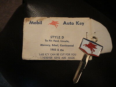 Mobil Auto Key for  1952 & On Ford, Lincoln, Mercury - New Vintage Collectible