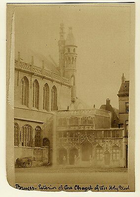 Antique Photo Chapel of The Holy Blood Bruges Belgium 1800's