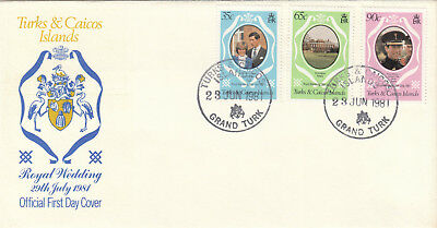 (07058) FDC - Turks and Caicos - 1981 Princess Diana Wedding.