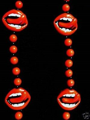 "Red Lips Tongue ""Rolling Stones"" Mardi Gras Necklace Jagger Rocky Horror (B474)"