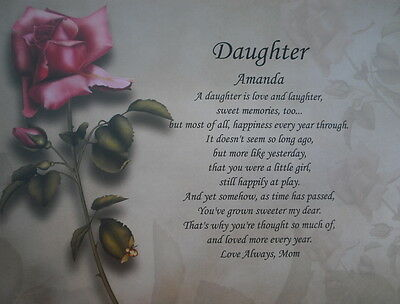 DAUGHTER PERSONALIZED POEM BIRTHDAY PRESENT OR CHRISTMAS GIFT IDEA RED ROSE