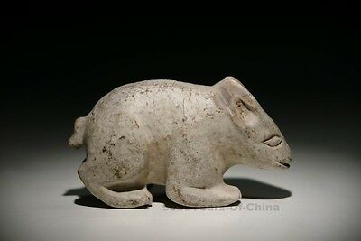 """4.7"""" Particular Old Chinese Handwork """"Mythological Rabbit Beast"""" Stone Statues"""