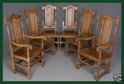 Set Of Eight (8) Solid Oak Panelback Dining Chairs