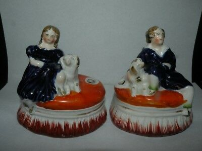 Pair Antique Staffordshire Girl And Boy Sitting With Dogs Inkwells Figurines