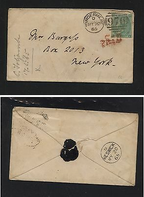 Great Britain   48 pl 4 on cover to US  1865 catalog $375.00      H1007-35